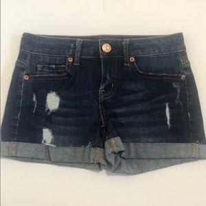 Aeropostale midi distressed/destroyed shorts